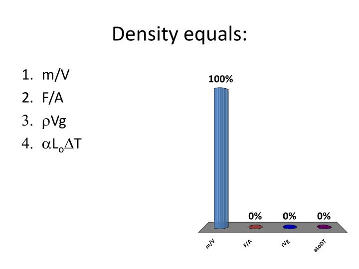 Density equals:
