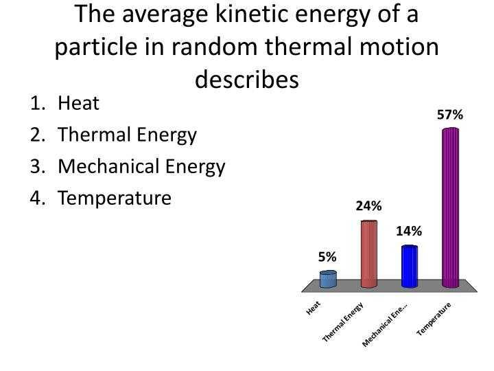 The average kinetic energy of a particle in random thermal motion describes