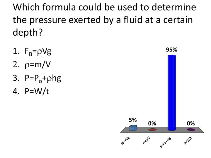 Which formula could be used to determine the pressure exerted by a fluid at a certain depth?