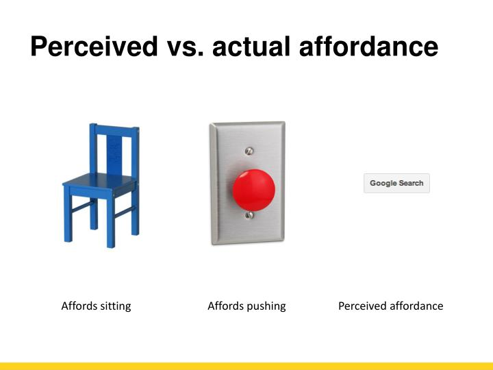 Perceived vs. actual affordance