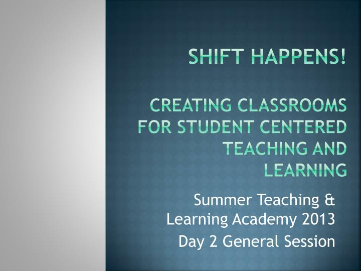 Shift happens creating classrooms for student centered teaching and learning