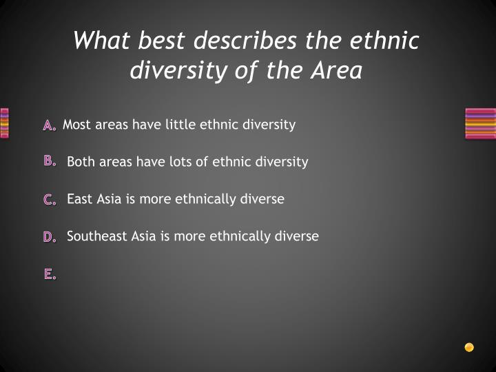 What best describes the ethnic diversity of the Area