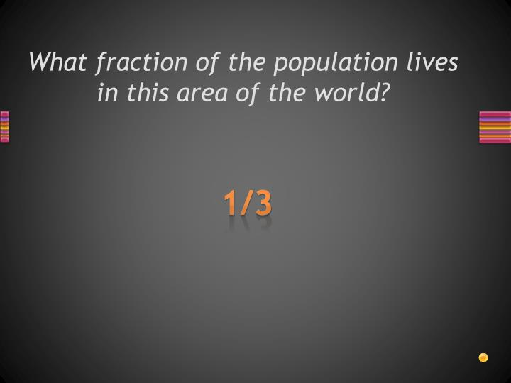What fraction of the population lives in this area of the world?