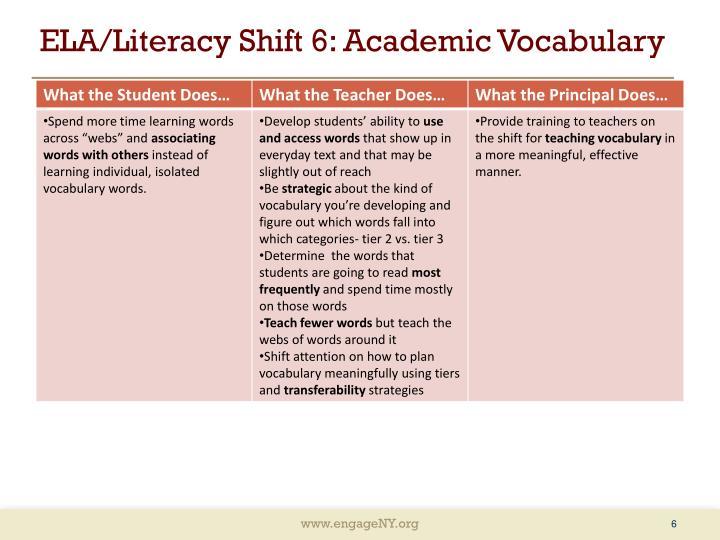 ELA/Literacy Shift 6: Academic Vocabulary