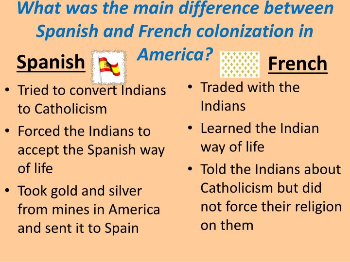 What was the main difference between Spanish and French colonization in America?