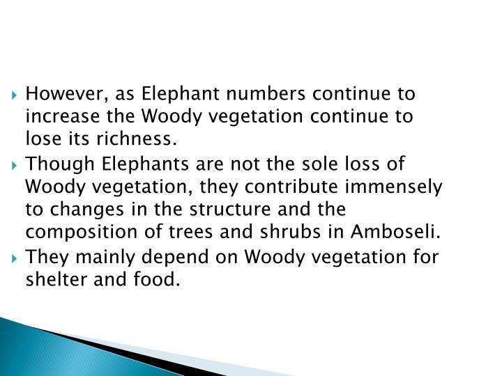 However, as Elephant numbers continue to increase the Woody vegetation continue to lose its richness.