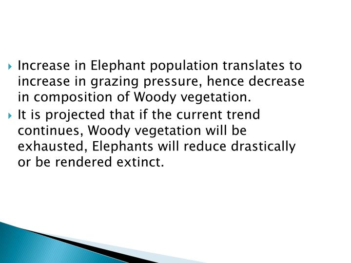 Increase in Elephant population translates to increase in grazing pressure, hence decrease in composition of Woody vegetation.