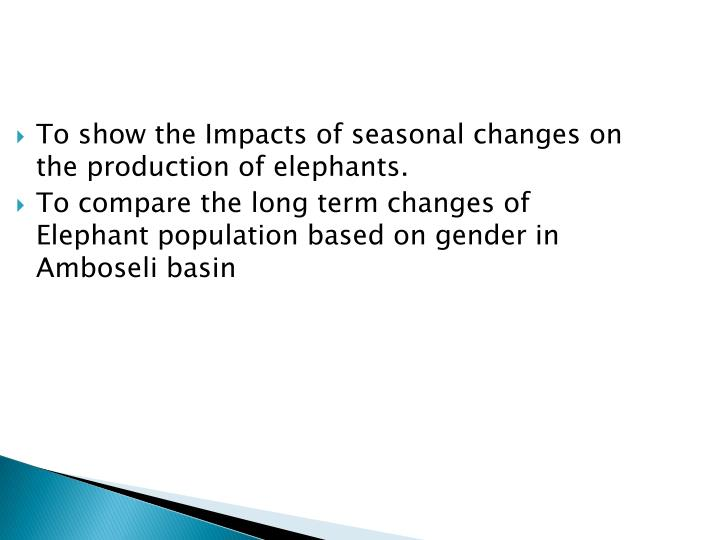To show the Impacts of seasonal changes on the production of elephants.