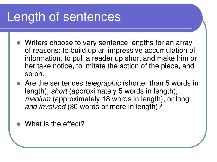Length of sentences