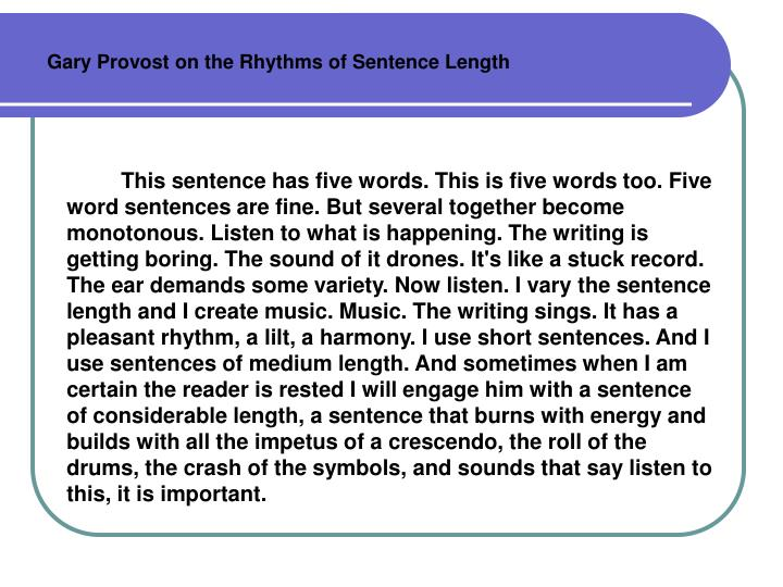 Gary Provost on the Rhythms of Sentence Length
