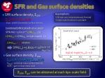 sfr and gas surface densities