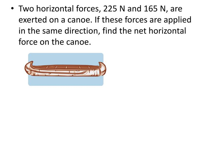 Two horizontal forces, 225 N and 165 N, are exerted on a canoe. If these forces are applied in the same direction, find the net horizontal force on the canoe.