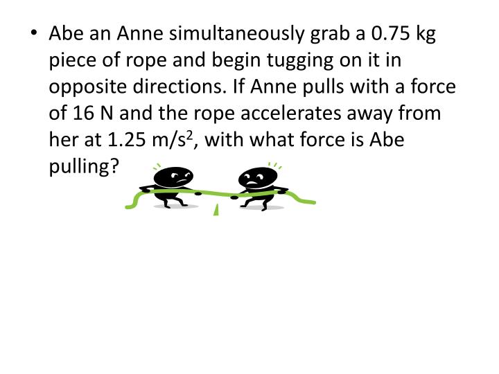 Abe an Anne simultaneously grab a 0.75 kg piece of rope and begin tugging on it in opposite directions. If Anne pulls with a force of 16 N and the rope accelerates away from her at 1.25 m/s
