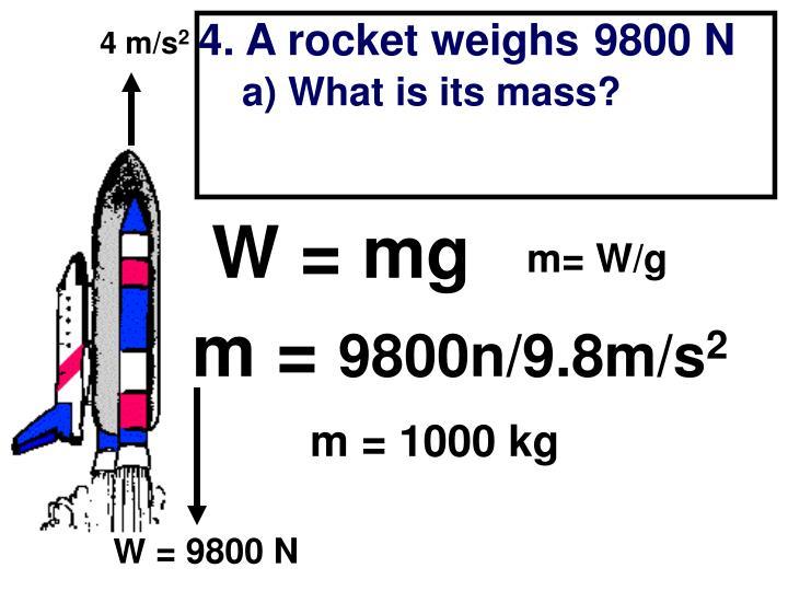 4. A rocket weighs