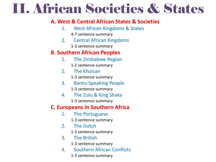 II. African Societies & States