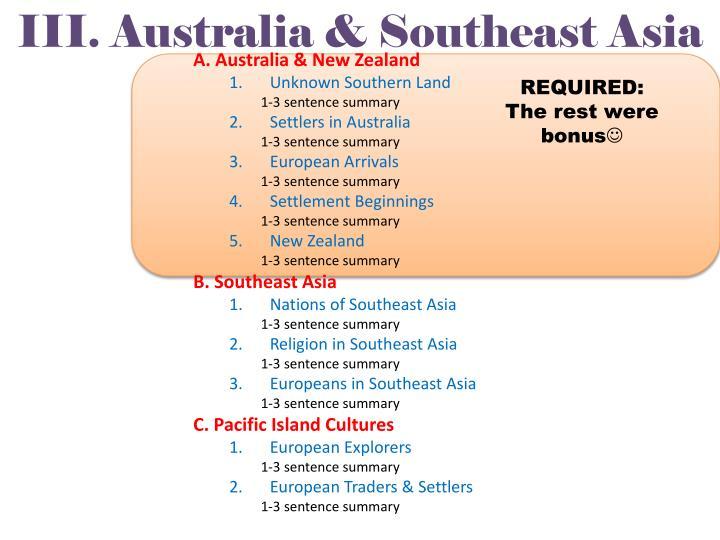 III. Australia & Southeast Asia