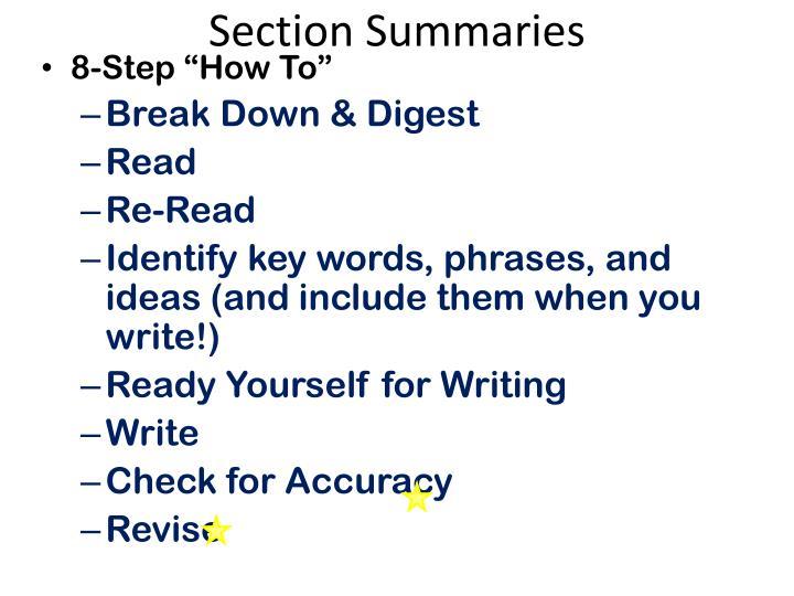 Section Summaries