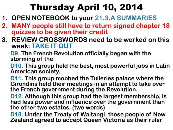 Thursday April 10,