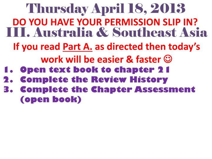 Thursday April 18, 2013