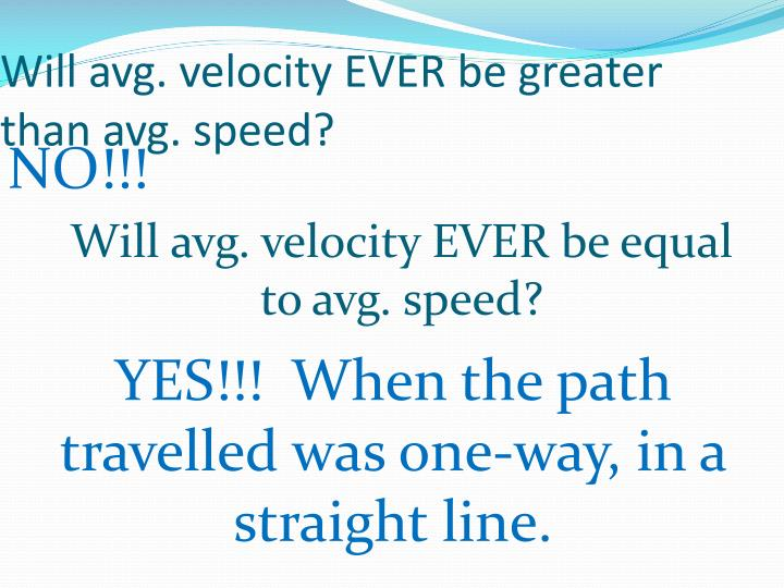 Will avg. velocity EVER be greater than avg. speed?