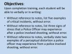 objectives upon completion training each student will be able to verbally or in writing