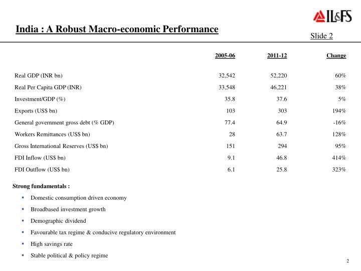 India : A Robust Macro-economic Performance
