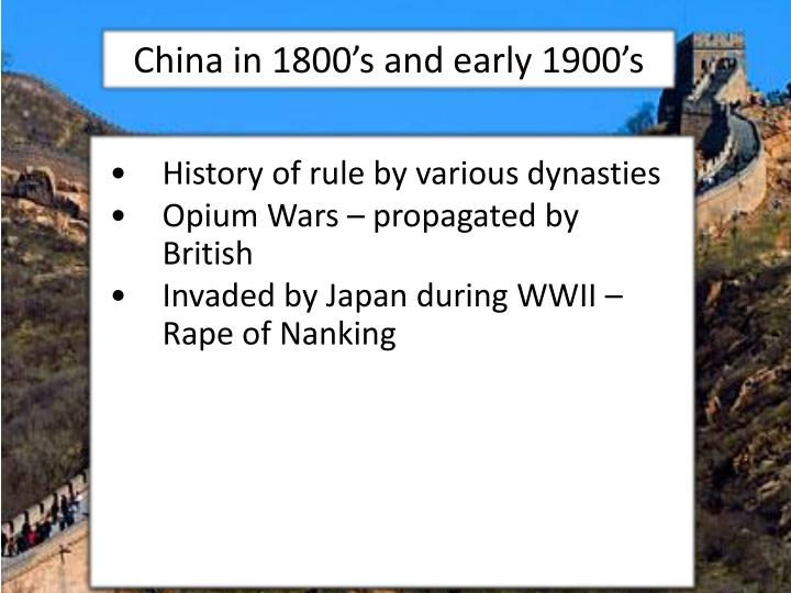 China in 1800's and early 1900's