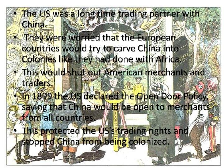 The US was a long time trading partner with China.