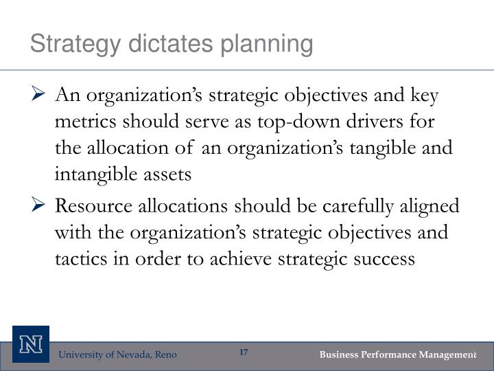 Strategy dictates planning