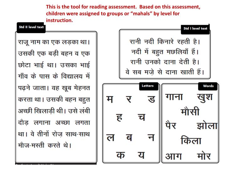 """This is the tool for reading assessment.  Based on this assessment, children were assigned to groups or """""""