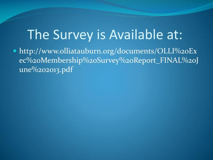 The Survey is Available at: