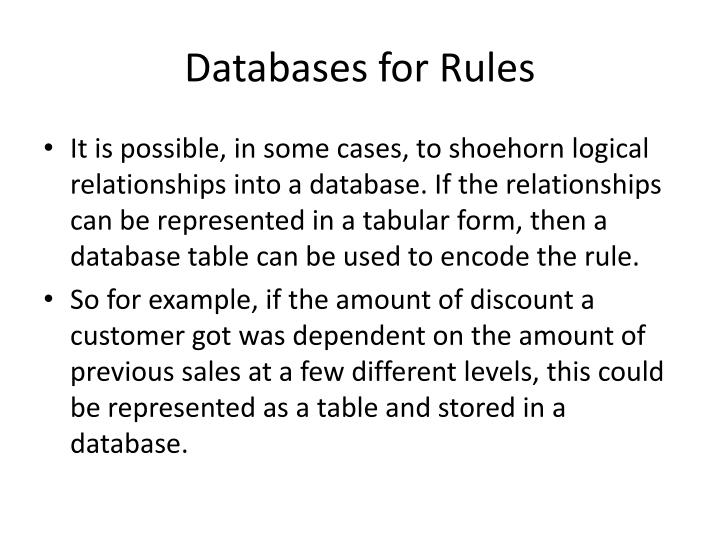 Databases for Rules