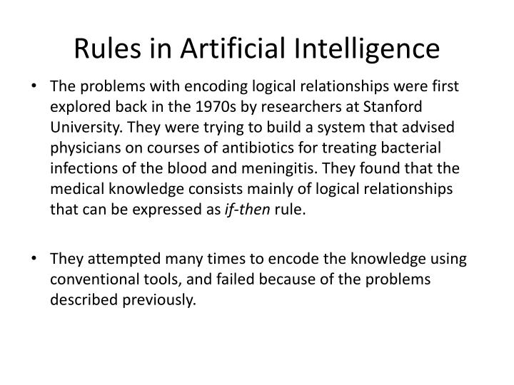 Rules in Artificial Intelligence