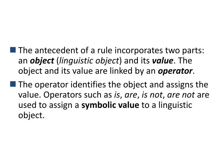 The antecedent of a rule incorporates two parts: an