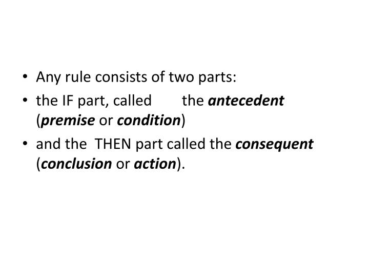 Any rule consists of two parts: