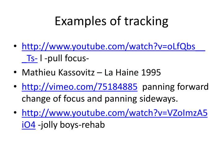 Examples of tracking