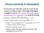 announcements reminders