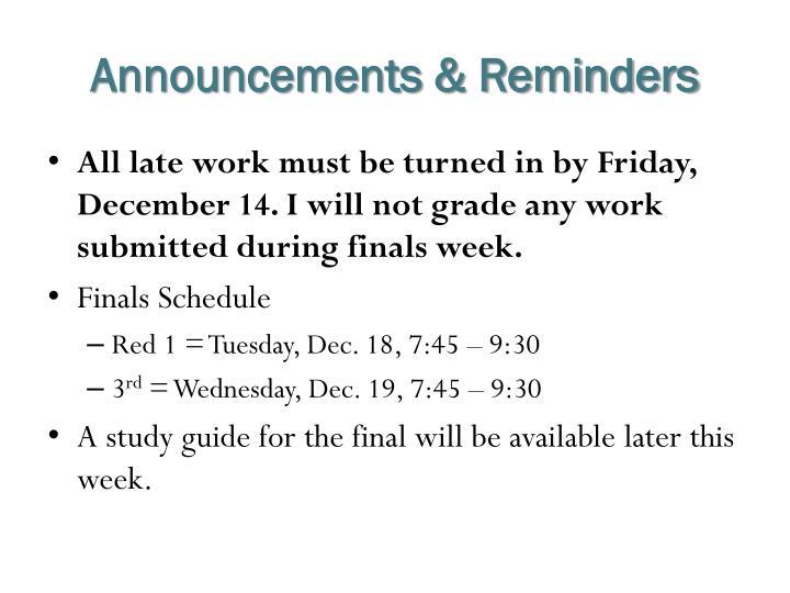 Announcements & Reminders