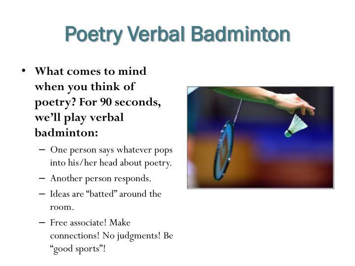 Poetry Verbal Badminton