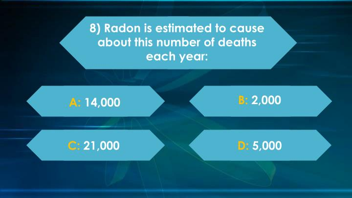 8) Radon is estimated to cause about this number of deaths each year: