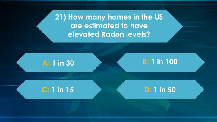 21) How many homes in the US are estimated to have elevated Radon levels?