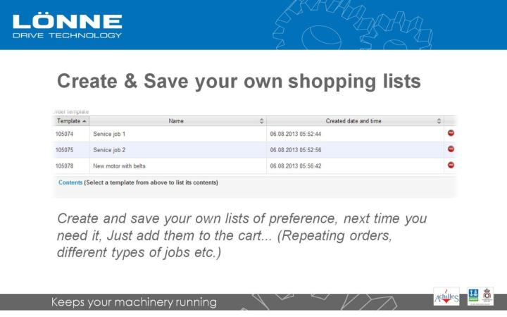 Create & Save your own shopping lists