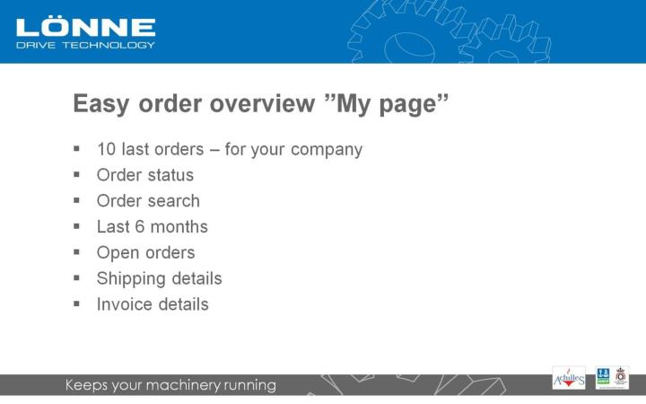 """Easy order overview """"My page"""""""