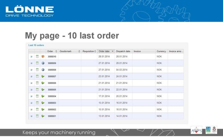 My page - 10 last order