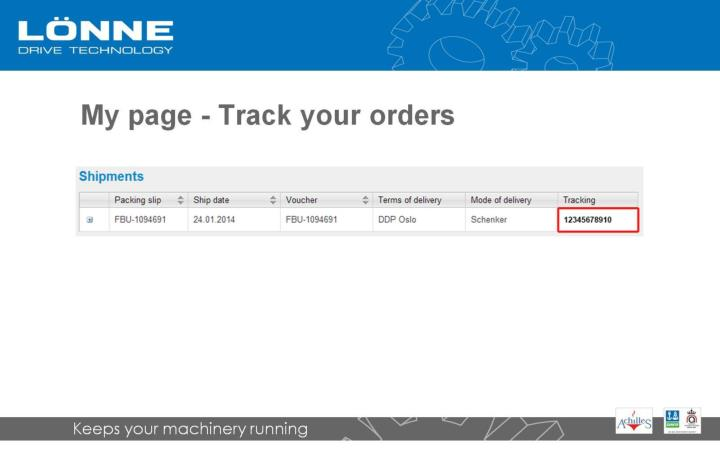 My page - Track your orders