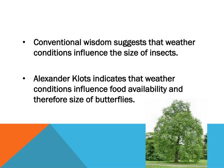 Conventional wisdom suggests that weather conditions influence the size of insects.