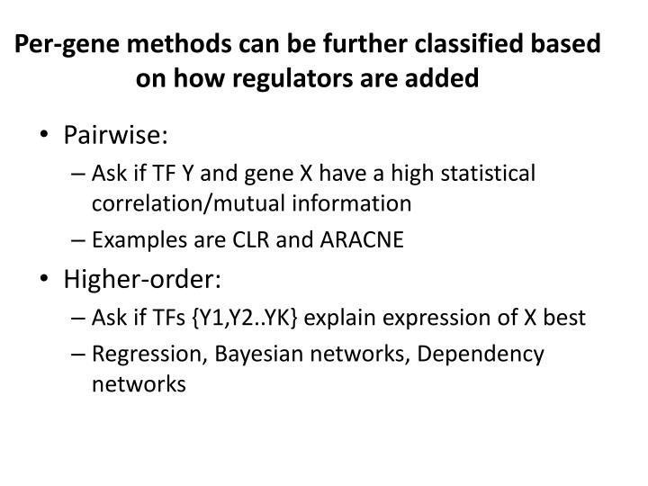 Per-gene methods can be further classified based on how regulators are added