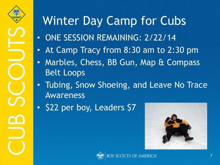 Winter Day Camp for Cubs