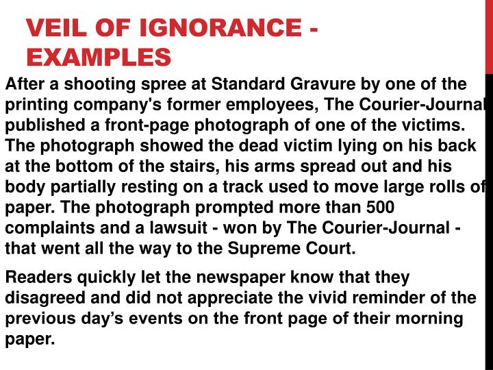 Veil of Ignorance - Examples
