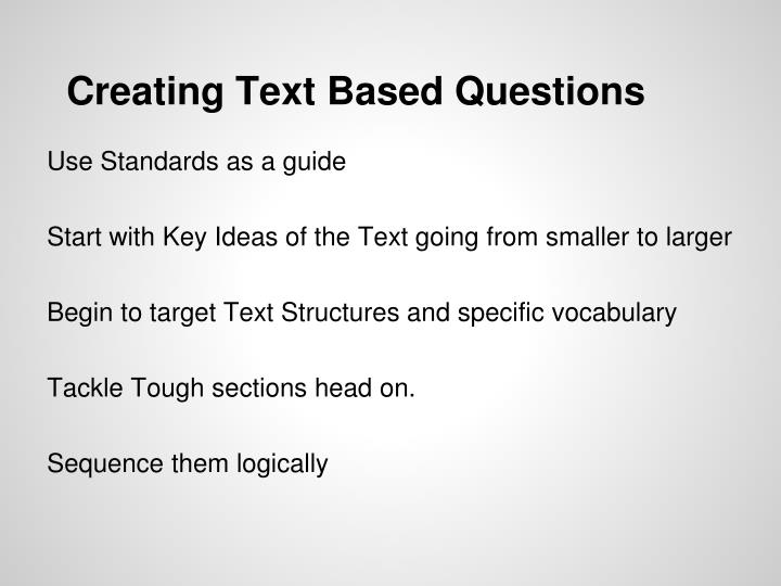 Creating Text Based Questions